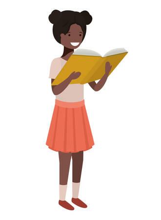 Chica estudiante con libro de lectura en las manos, diseño de ilustraciones vectoriales Ilustración de vector