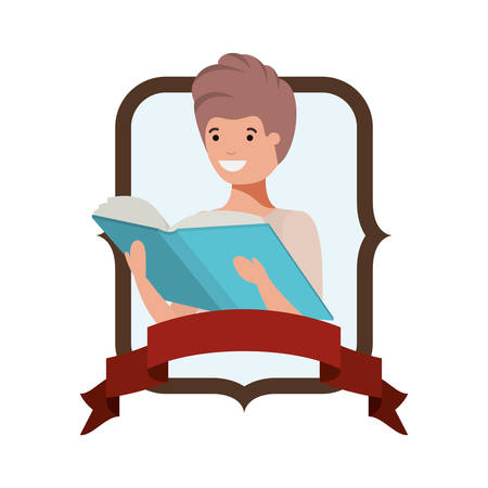 frame with student boy and reading book vector illustration design