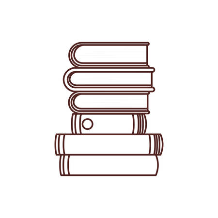 silhouette of stack of books on white background vector illustration design