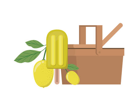 picnic basket with ice cream and tropical fruits on white background vector illustration design