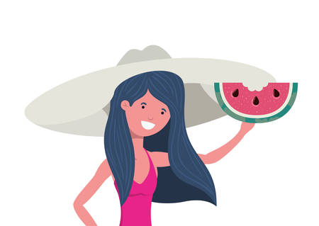 woman with swimsuit and portion of watermelon in hand vector illustration design