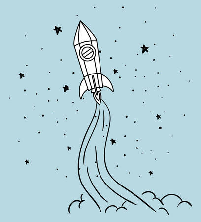 Rocket  and stars design, Spaceship aircraft start up shuttle technology and travel theme Vector illustration