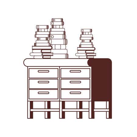 silhouette of desk with stack of books on white background vector illustration design