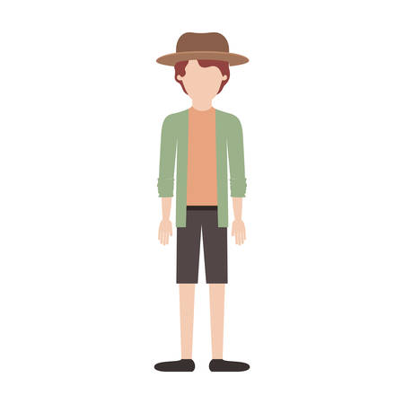 faceless man with hat and shirt with jacket and short pants and shoes with short wavy hair in colorful silhouette vector illustration 向量圖像