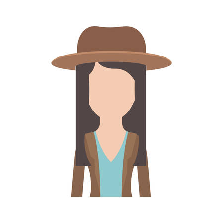 faceless woman half body with hat and blouse with jacket and layered hair in colorful silhouette vector illustration
