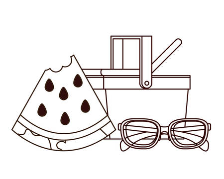 silhouette of picnic basket with portion of watermelon vector illustration design