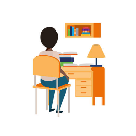 young student boy sitting in school desk vector illustration design Archivio Fotografico - 124714620