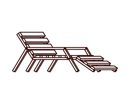 beach chair for sunbathing on white background vector illustration design