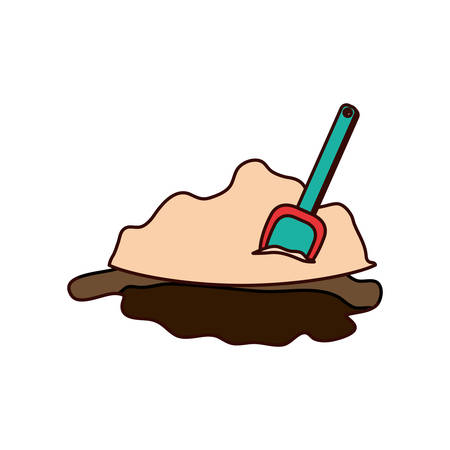 shovel to play on the beach on white background vector illustration design
