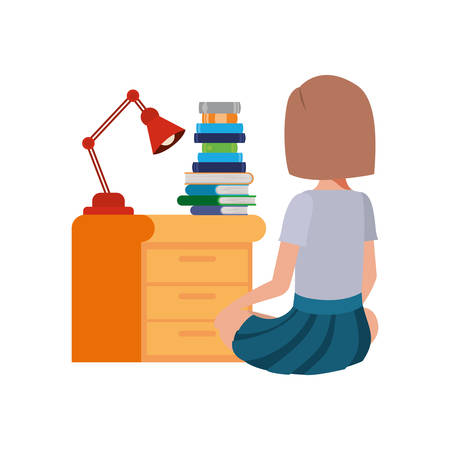 woman sitting with stack of books vector illustration design