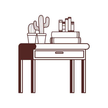 desk with stack of books on white background vector illustration design