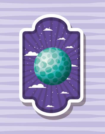 Planet over striped label design, Science communication orbit global universe world theme Vector illustration