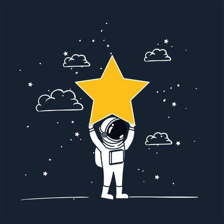 L'astronaute dessine avec la conception d'étoile jaune, Spaceman galaxie cosmonaute univers science et technologie de l'espace thème Vector illustration Vecteurs
