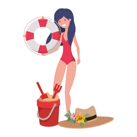 woman with swimsuit and lifesaving float in white background vector illustration design Vectores