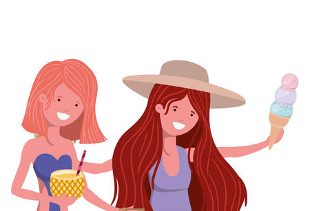 women with swimsuit and pineapple cocktail vector illustration design Ilustração
