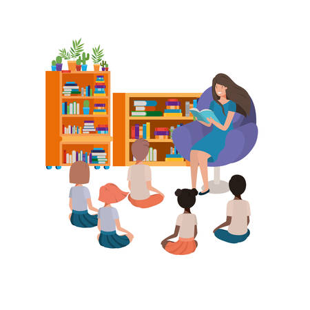 woman with reading book in the sofa and children s vector illustration design Archivio Fotografico - 124716310