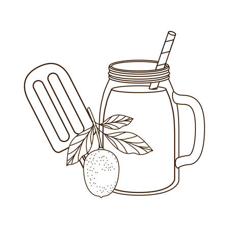 glass with lemon and straw drink vector illustration design