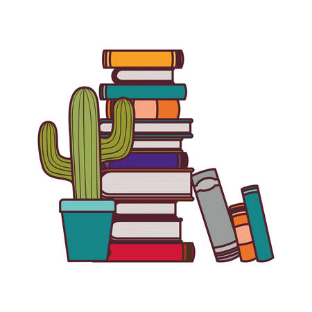 stack of books with houseplant on white background vector illustration design