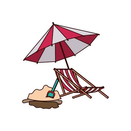 beach umbrella for summer striped icon vector illustration design Illustration
