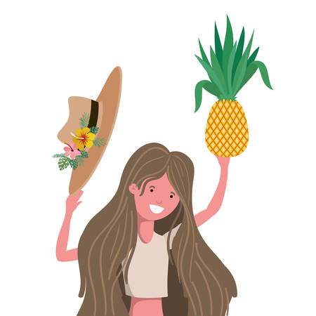 woman with swimsuit and pineapple in hand vector illustration design