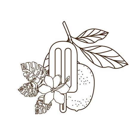ice cream of tropical fruits on white background vector illustration design Ilustração