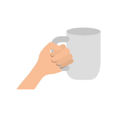 hand with cup of coffee with white background vector illustration design Ilustração