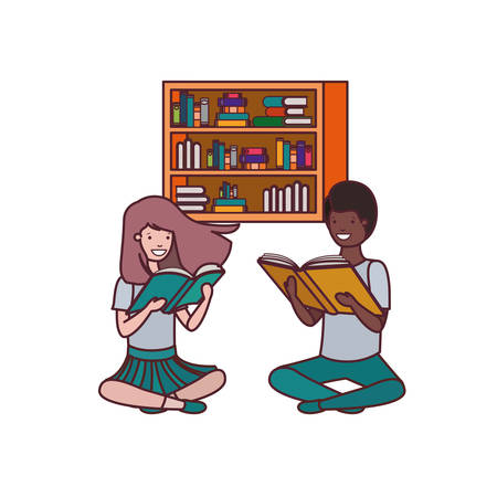 couple of student with reading book in the hands vector illustration design Illustration