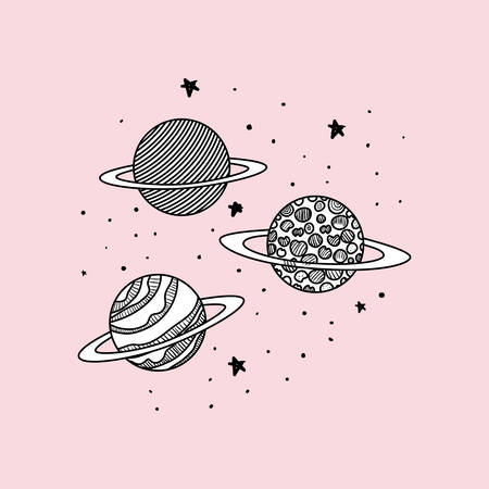 Planets draws design, Solar system space orbit galaxy universe and science theme Vector illustration