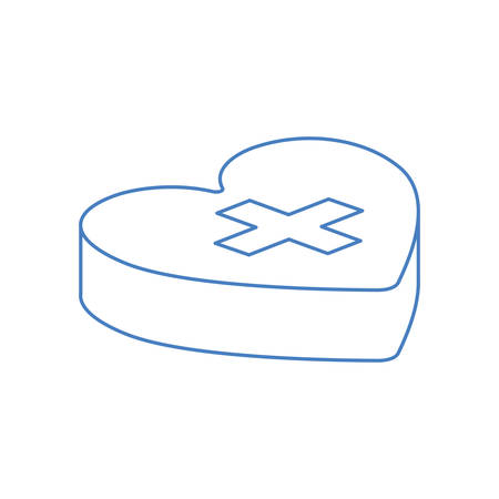 heart isometric with cross isolated icon vector illustration design 일러스트