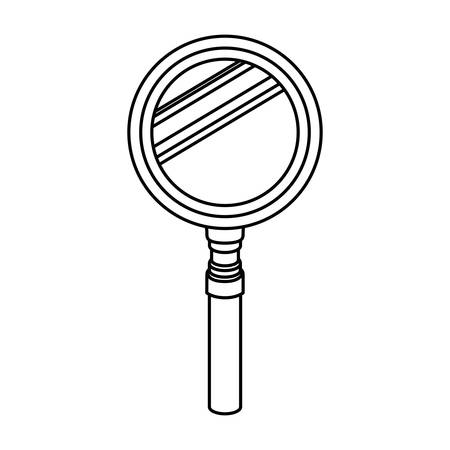 silhouette of magnifying glass with white background vector illustration design