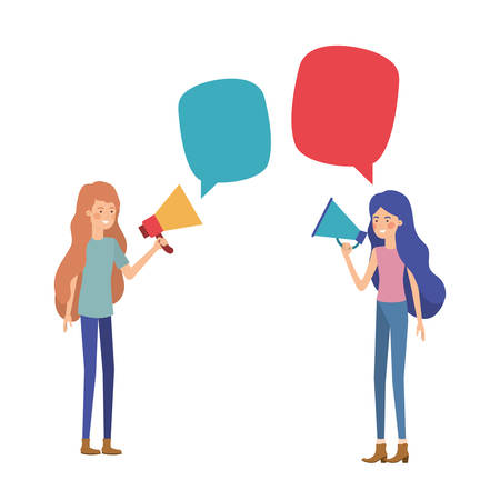 young women with megaphone in the hand vector illustration design