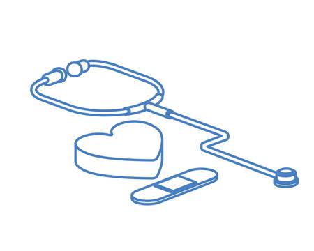 medical instrument stethoscope in white background vector illustration design
