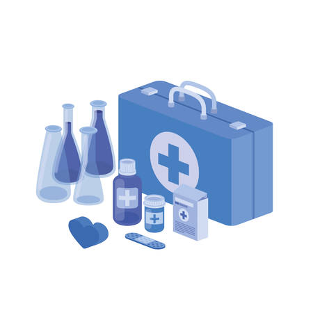 first aid kit on white background vector illustration design Ilustrace