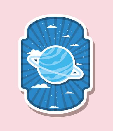 Planet over label design, Science communication orbit global universe world theme Vector illustration