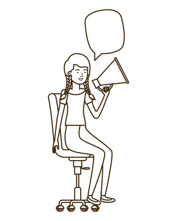 woman with sitting in office chair and megaphone vector illustration design