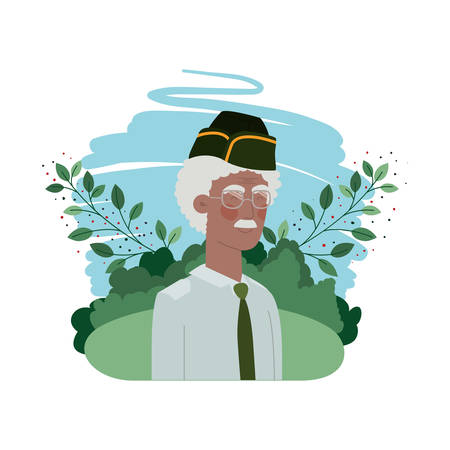 veteran war old man with landscape background vector illustration design