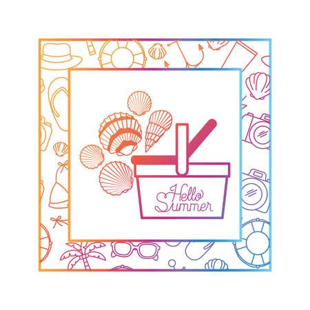 hello summer label with colorful frame vector illustration design Illustration