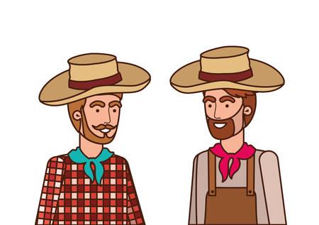 farmers men talking with straw hat vector illustration design Stock Illustratie