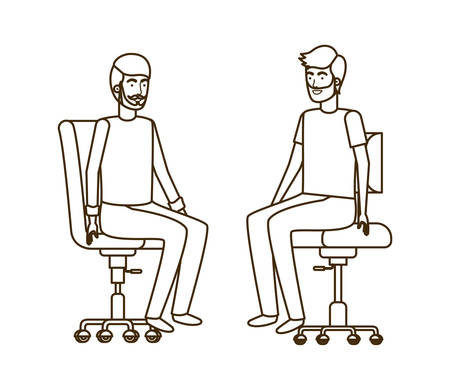 men with sitting in office chair avatar character vector illustration design Illustration
