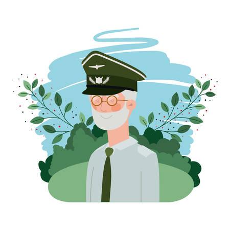 veteran war old man with landscape background vector illustration design