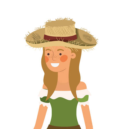farmer woman with straw hat vector illustration design