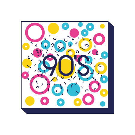 square frame colorfull figures and 90 number ninetys pattern vector illustration