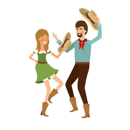 farmers couple dancing with straw hat vector illustration design Illustration