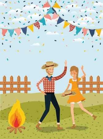 farmers couple celebrating with garlands and fence vector illustration design Banque d'images - 124834229