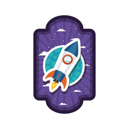 frame with rocket flying and planet of the solar system vector illustration design Illustration