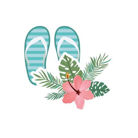 striped beach sandals on white background vector illustration design Illustration
