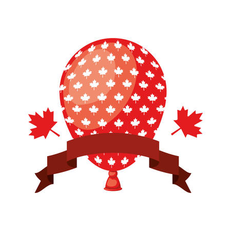 Maple leaf balloon and canada design, Culture national country travel and tourism theme Vector illustration Stock Illustratie