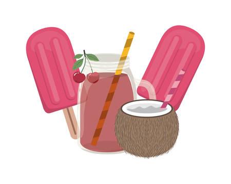 ice cream of tropical fruits on white background vector illustration design Ilustrace