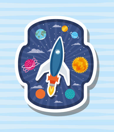 Rocket design, Spaceship aircraft start up shuttle technology and travel theme Vector illustration