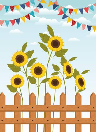 festa junina with fence and sunflowers garden vector illustration design